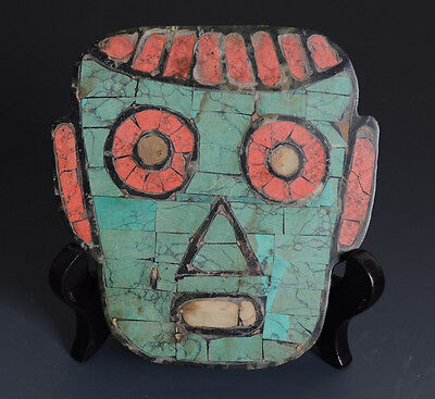 Chinese QiJia Style Jade Mask Carving All of the Turquoise Inlaid-JR10248