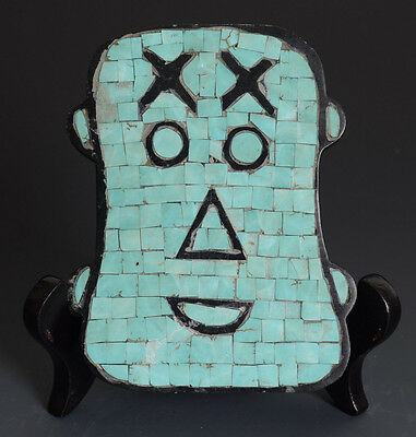 Chinese QiJia Style Jade Mask Carving All of the Turquoise Inlaid-JR10250