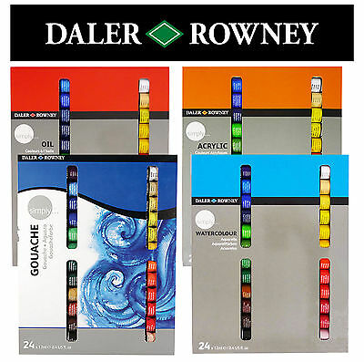 DALER ROWNEY SIMPLY PAINTS 24 x 12ml - WATERCOLOUR-GOUACHE-OIL-ACRYLIC SETS