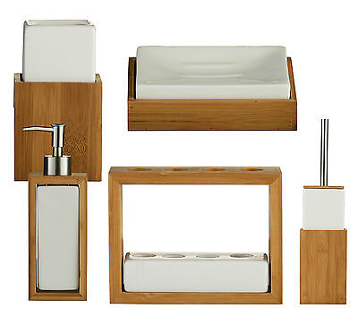 5pc bamboo wood bathroom accessory set soap dispenser for Bathroom accessories stand