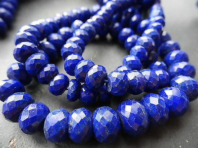 HAND FACETED LAPIS LAZULI RONDELLES, approx 6mm - 10.5mm, 17""