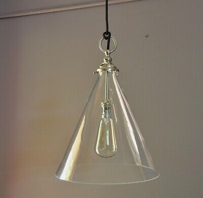 "ALVA-INDUSTRIAL STYLE LIGHT-BRUSHED NICKEL-CLEAR CONICAL GLASS SHADE-""italian"""