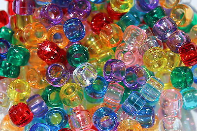 Transparent Pony Beads Barrel Shape Ideal For Dummy Clips - Choose Your Colour