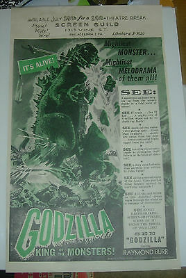 Godzilla 1956   Theater Flyer / Window Card  Vintage And Original Promotional