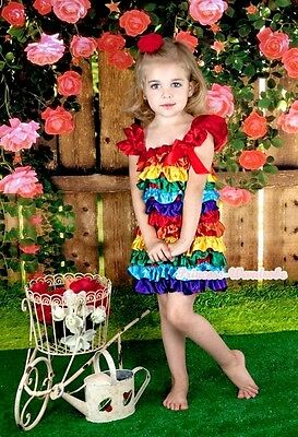 Rainbow Satin Cap Sleeves Dress Red Bow One Piece Baby Girl Party Dress 1-5Year