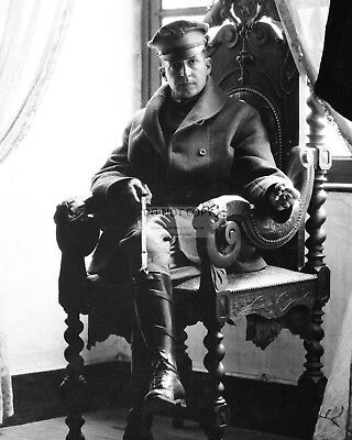 Douglas Macarthur Sits In French Chateau 1918 World War I - 8X10 Photo (Ep-761)