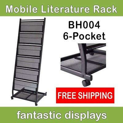 6 Pocket Mobile Literature Display Rack/ Portable Magazine Shelves