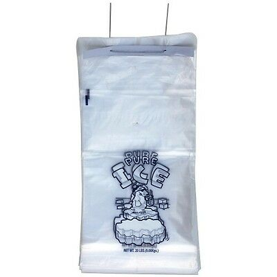 """13.5"""" x 28"""" x 4"""" 2 Mil Clear 20 LB Pound On Wicket  Plastic Ice Bags 500 Pc"""