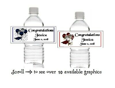 10 Personalized Graduation Water Bottle Label Wrappers