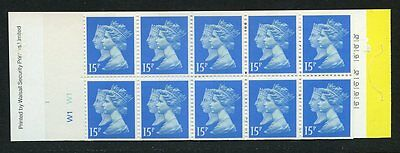 Gb Qe2 Barcode Booklet Penny Black £1.50 Jc3  W1W1 Incorrect Rate + Bar
