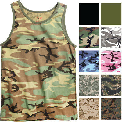 aa878c2509a896 Camo Tank Top Sleeveless Muscle Tee Camouflage Tactical Army Military A T- Shirt
