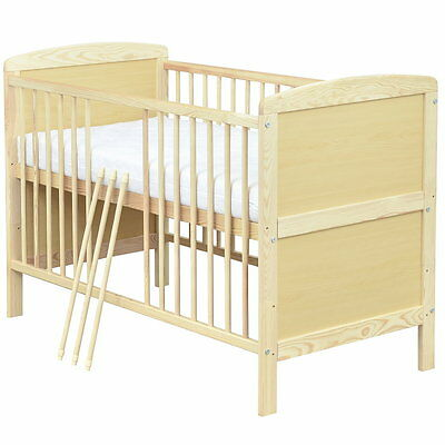 Babybett Kinderbett Gitterbett Juniorbett 2in1, Kiefer 140x70 NEU