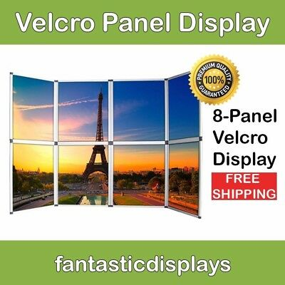8 Panel Folding Trade Show Backdrop Booth Banner Exhibit Velcro Display Board