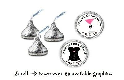 108 Personalized Bridal Shower Bachelorette Hershey Kiss Candy Labels Wrappers