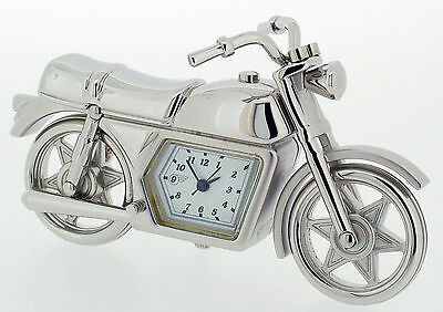 Novelty Miniature Classic Motorbike Clock in Solid Brass. Chrome Plated