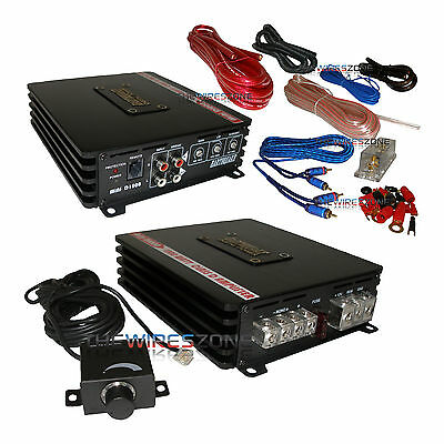 Earthquake Sound Mini D1000 Class D Mono Block 1000 Watt Car Amplifier + Amp Kit