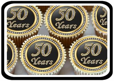 30 Gold 50Th Birthday Anniversary Edible Cupcake Toppers Thick Rice Paper 1174