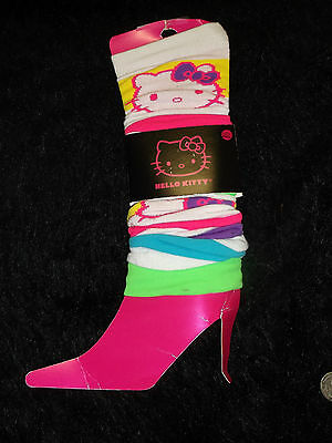 new  too cute Hello Kitty white and  neon stripes leg warmers trademarked Sanrio