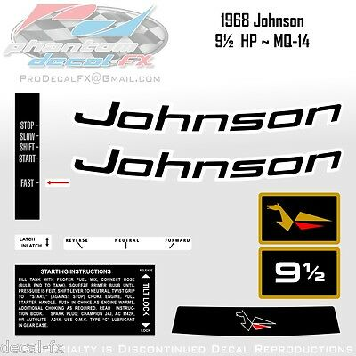 1968 Johnson 9½ HP MQ-14 Sea Horse Outboard Reproduction 10 Piece Vinyl Decals