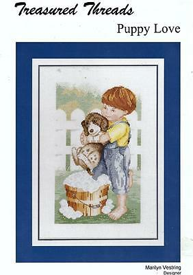 Puppy Love Counted Cross-Stitch Chart - Marilyn Vestring - Treasured Threads