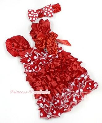 Red Minnie Dot Satin Cap Sleeves Red Satin Roses One Piece Girl Party Dress 1-5Y