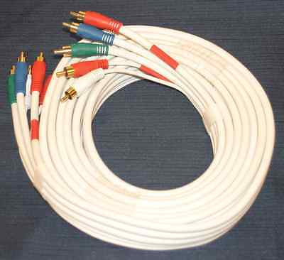 12'Ft 5-RCA RGB Heavy duty Shielded M-M GOLD COMPONENT VIDEO CABLE HD Audio