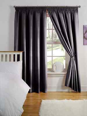 "46"" x 72"" BLACK THERMAL BACKED LIGHT REDUCING PAIR CURTAINS 3"" PENCIL PLEAT TOP"