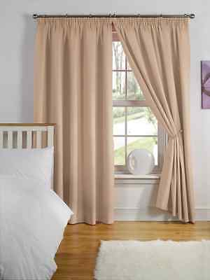 """46"""" x 54"""" LATTE THERMAL BACKED LIGHT REDUCING PAIR CURTAINS 3"""" PENCIL PLEAT TOP"""