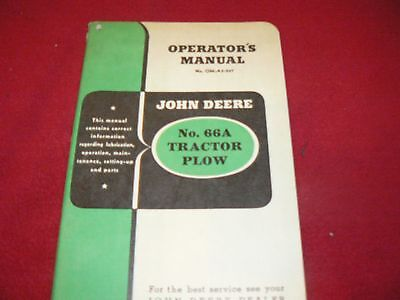 John Deere 66A Tractor Plow Operator's Manual WPNH