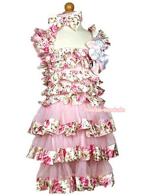 Pink Rose Cap Sleeves White Satin Rose Dress One Piece Girl Party Dress 1-10Y