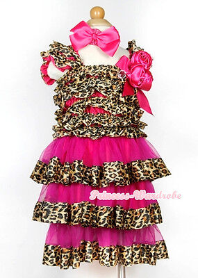 Hot Pink Leopard Cap Sleeve Hot Pink Rose One Piece Girl Party Dress 1-10Year