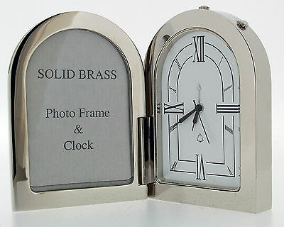 Miniature Novelty Picture Frame Alarm Clock in Chrome Plating