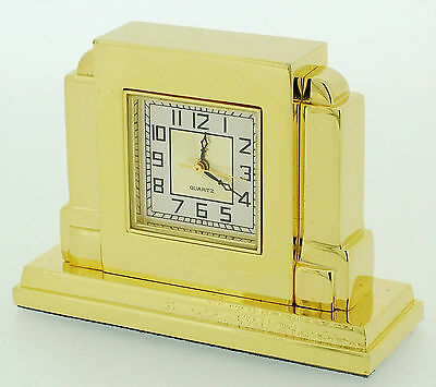Miniature Novelty Art Deco Mantel Clock in Solid Brass