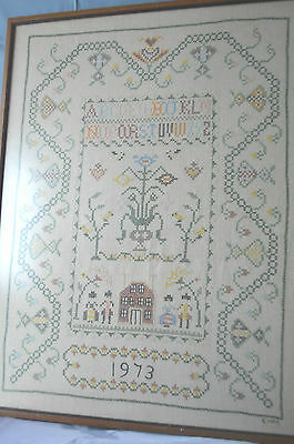 """VINTAGE 1973  ABC  Cross Stitch Sampler in Wood Frame 19"""" x 25"""" Tall"""