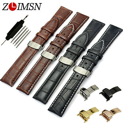 ZLIMSN Rose Gold Clasp Brown Genuine Leather Watch Band Strap Butterfly Buckle