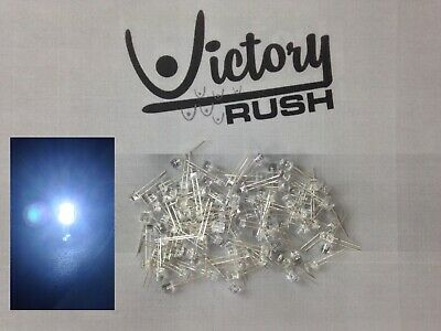 100x White 5mm Flat Top Wide Angle Leds Lamp UltraBright Light Dash RC USA