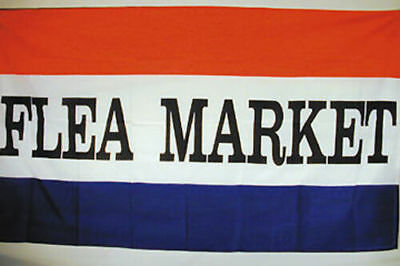 FLEA MARKET Flag Banner 3x5 ft RWB Stripes Sign Swap Meet Antique Garage Sale