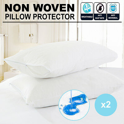 2 x Waterproof Pillow Protector Case Slip - Zipper Opening - Anti-allergy