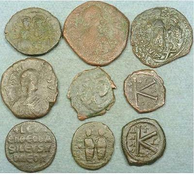 Lot Of 9 Large Byzantine Bronze Coins