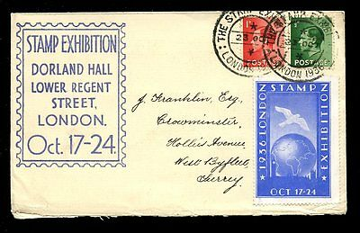STAMP EXHIBITION 1936 KE8 FRANKING + LABEL on DORLAND HALL ENV + SPECIAL CANCEL