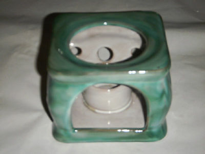 VINTAGE STANGL SEAFOAM GREEN CANDLE WARMER 3412 USA REDWARE GLAZED W CUTOUTS