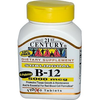 21st Century Vitamin B12 5000mcg High Potency Tablets 110ct -Exp. 02-2019-