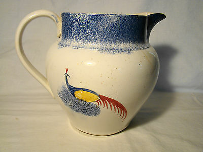 "Blue Spatter Peafowl Pitcher 6 3/4""h 2 Quart early 19th c"