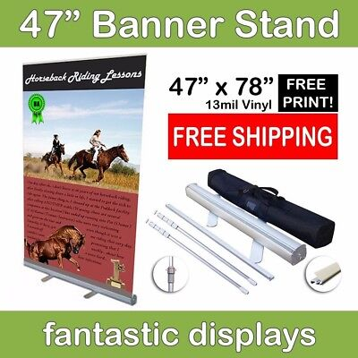 47x78 Retractable Roll Up Banner Stand with Vinyl Print for Trade Show Exhibit