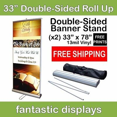 "33"" Retractable Roll Banner Stand with 2 Prints Included (Front and Back)"