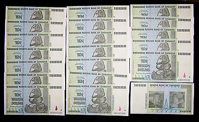 Lot of 20 x Zimbabwe 10 Trillion Dollar Banknotes-Paper currency