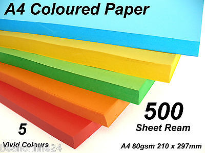 500 Sheet Ream Vivid A4 Coloured Paper - 5 Colours x 100 Sheets 210x297mm 80gsm