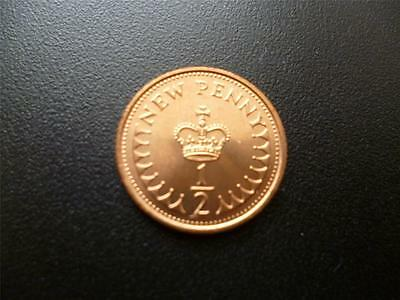1971 Half New Penny Coin In Uncirculated Condition, First Issue Of Decimal 1/2P