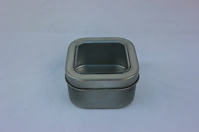 4oz Square Deep Tin Containers Clear Top Lids  12  NEW  Candles, Spices, Beads