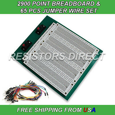 2900 Point Breadboard & 65pcs Jumper Wire Solderless PCB Prototyping NEW